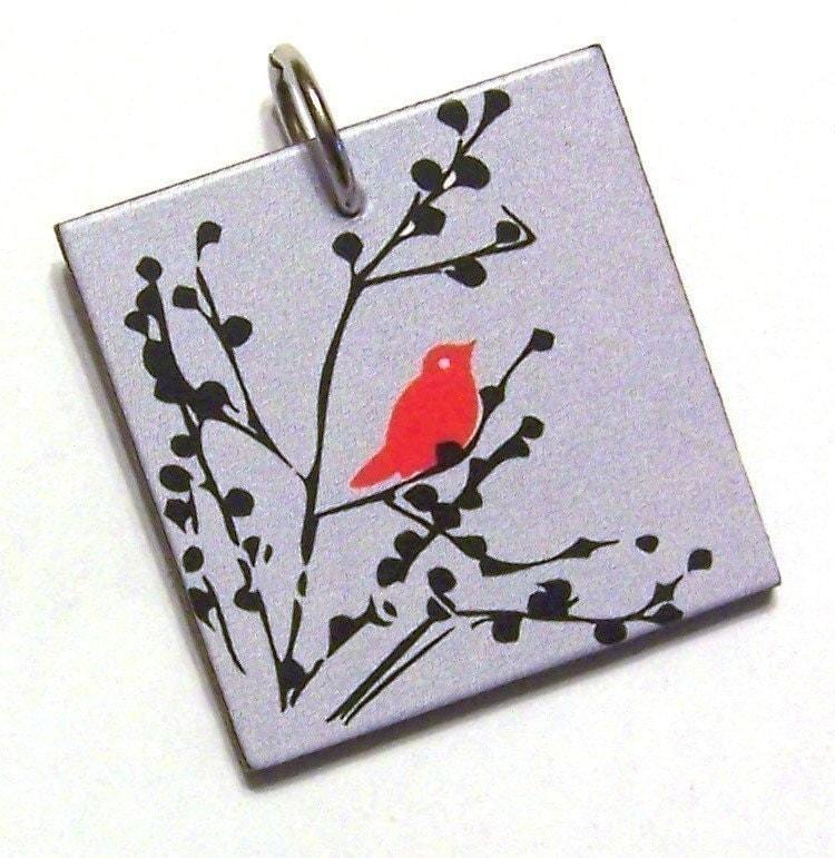 Red Bird on Branch Pendant