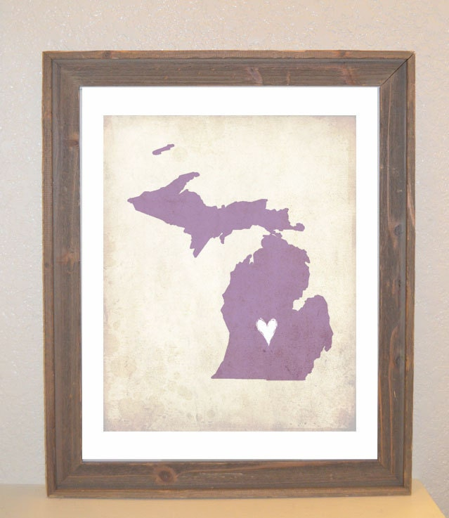 Michigan Love State Customizable Art Print