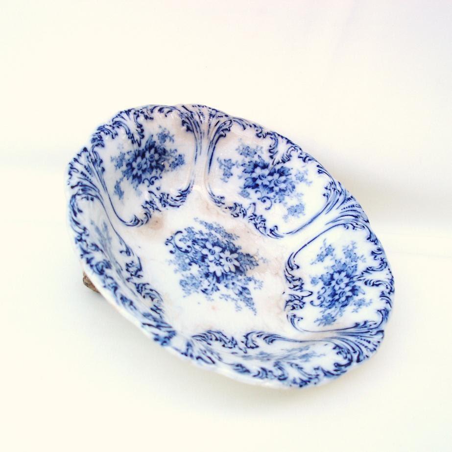 Antique Blue White Bowl Flow Blue China Pottery Serving Bowl Fruit Bowl Antique Kitchen - WhimzyThyme