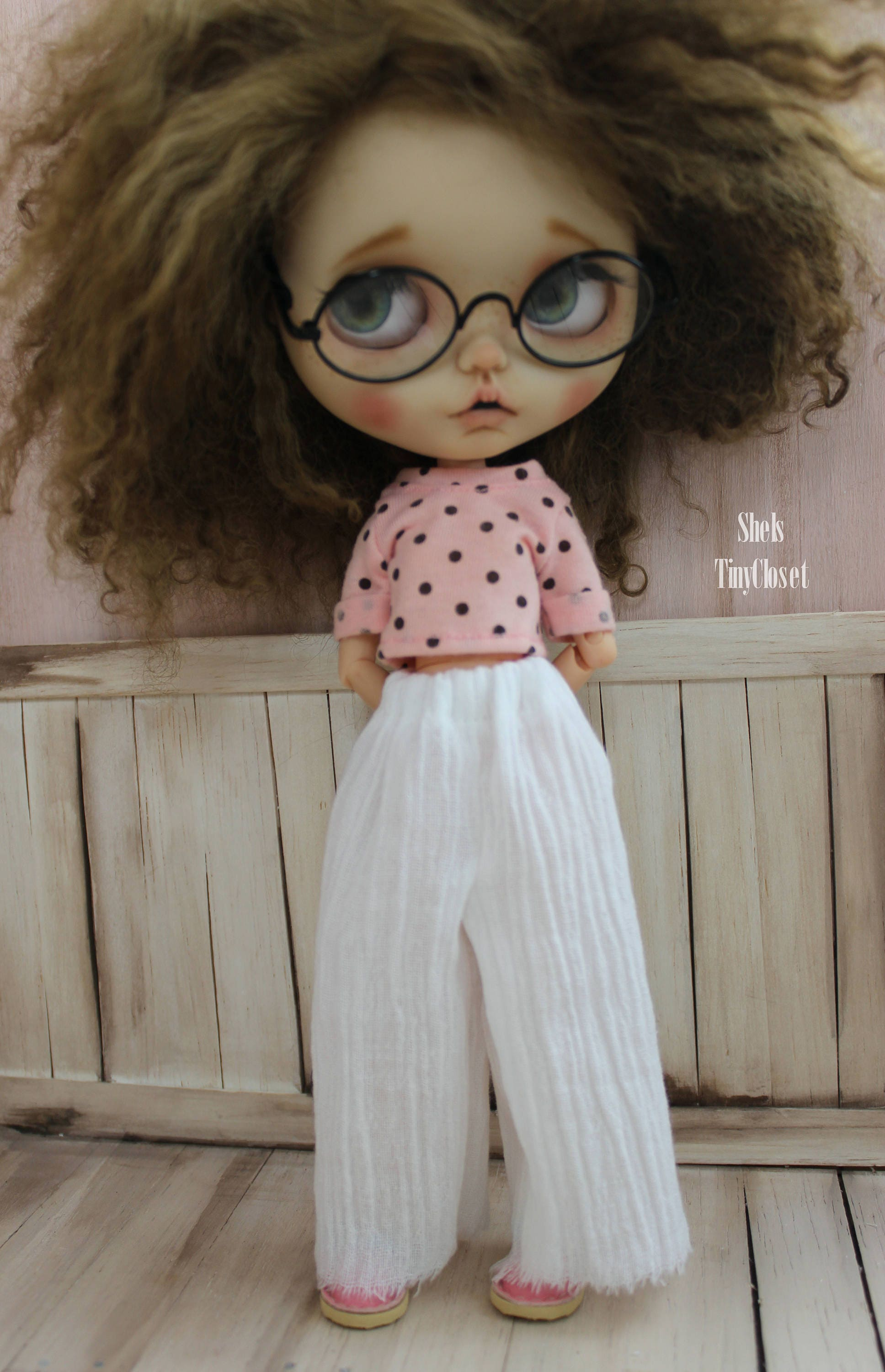 Wide Leg Palazzo Trousers For Blythe  Handmade lightweight trousers long blythe trousers crinkle trousers white blythe trousers pants.