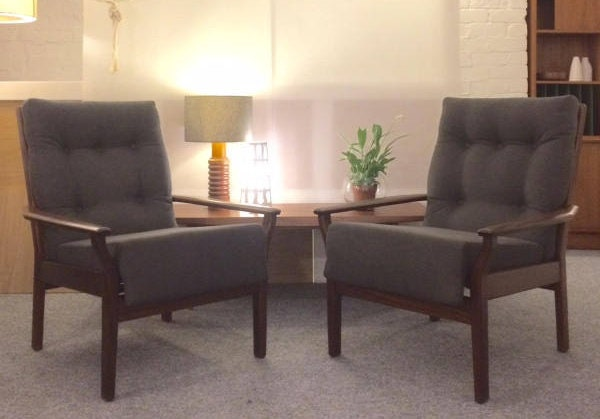 Pair of Mid Century Cintique Arm Chairs in Charcoal Linen