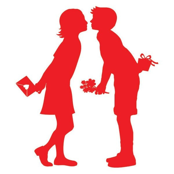 Valentine's Day Cards Red Silhouette First Kiss (Set of 8)