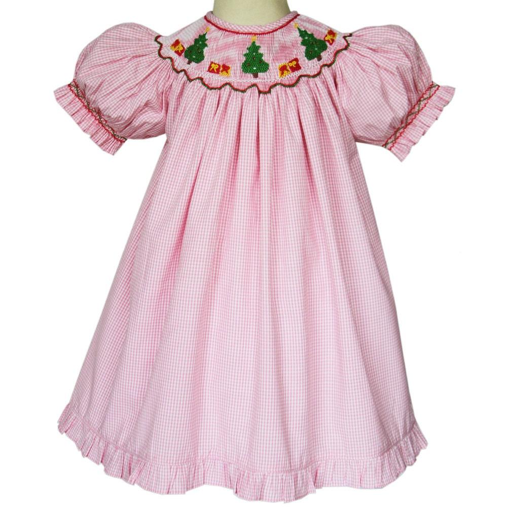 Pink girls hand smocked christmas tree dress made by carouselwear