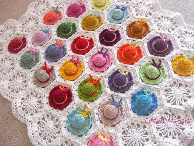Items similar to Crochet Baby Blanket Colorful Mini Hat ...