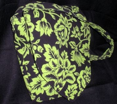 Beautiful Green and Black Floral Handbag