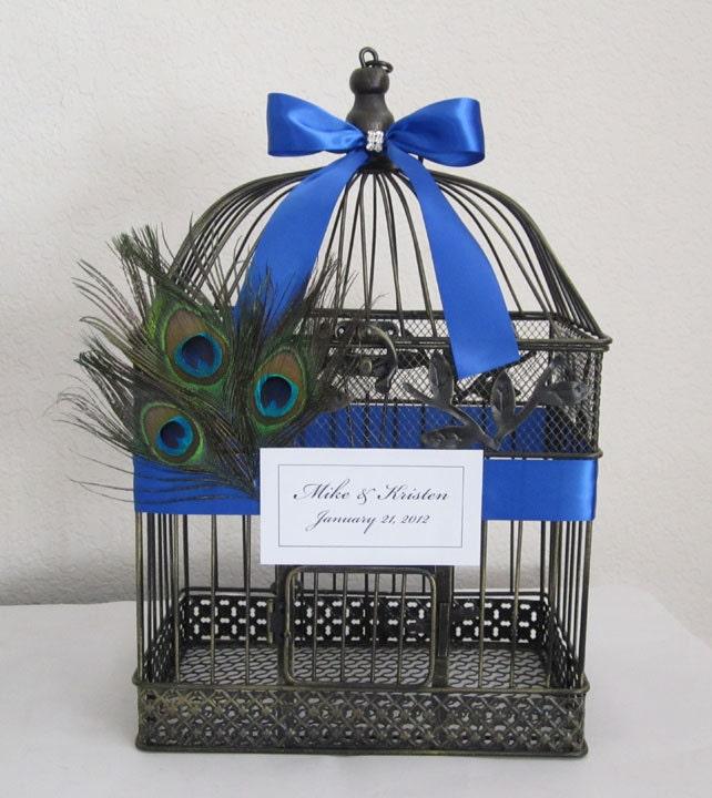 Peacock Feathers Large Birdcage- Wedding Card Holder - ($65)