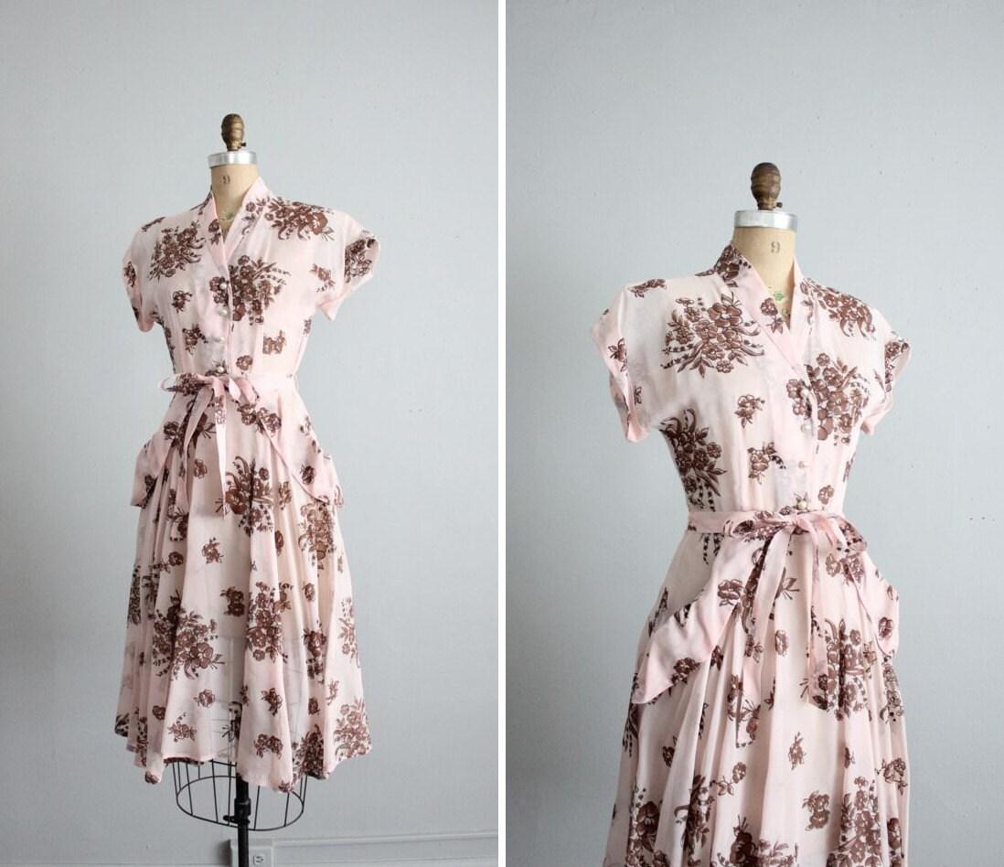 1940s vintage sheer barely pink floral tea dress