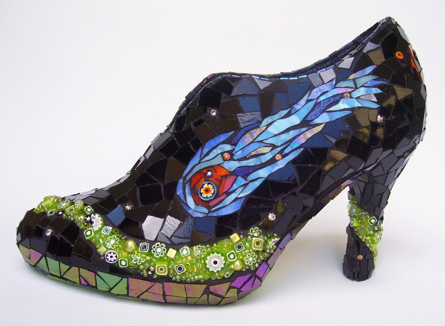 SPACE CASE - Stained Glass Cosmic High Heel Mosaic Shoe Sculpture