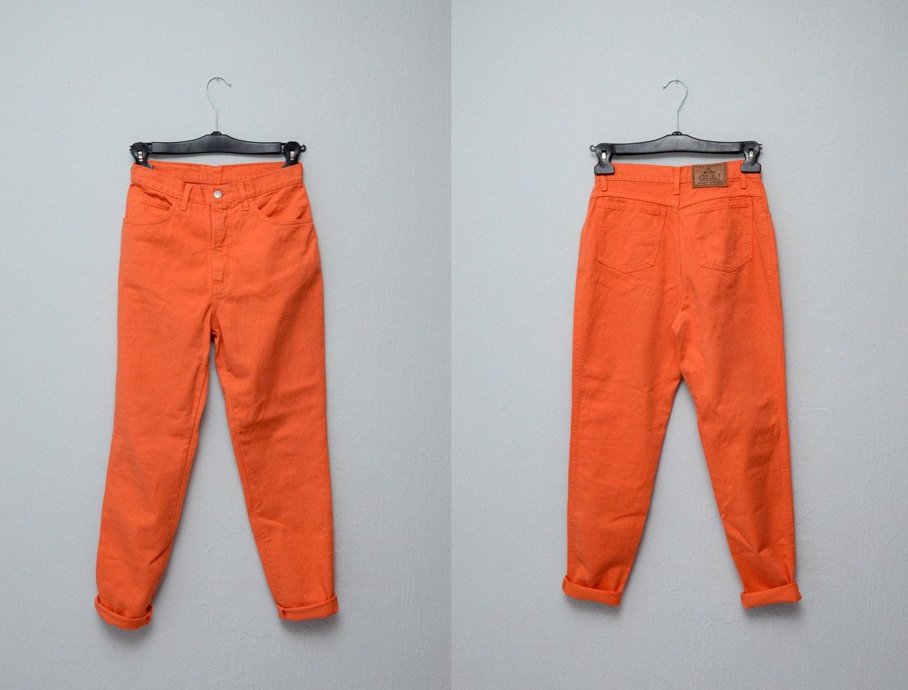 High Waist Orange Jeans 90s