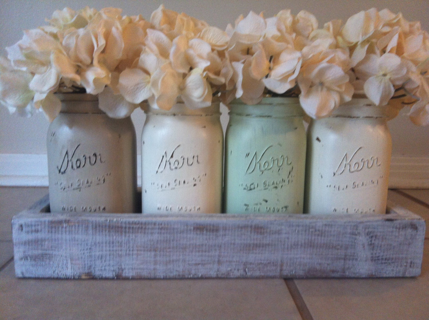 Rustic mason jar and wood box table centerpiece by lilykayy for Centerpieces for wood dining table