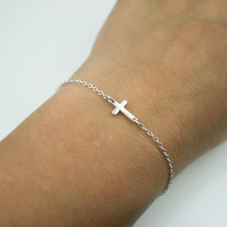 Tiny Sideways Cross Bracelet in Sterling Silver  Adjustable Sterling Silver Sideways Cross Bracelet