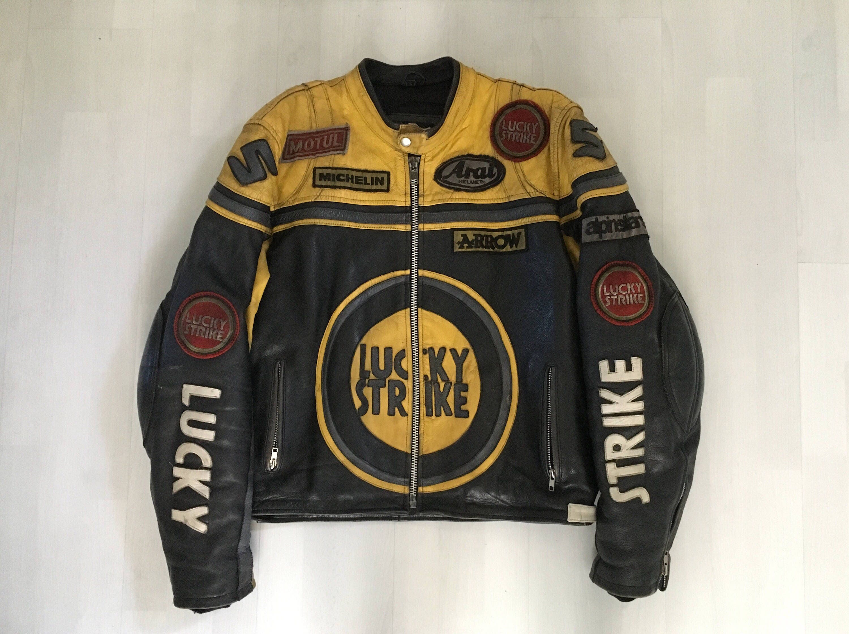 Lucky Strike Leather Jacket Motorcycle Jacket Yellow And Black Vintage Motorbike Leather Jacket