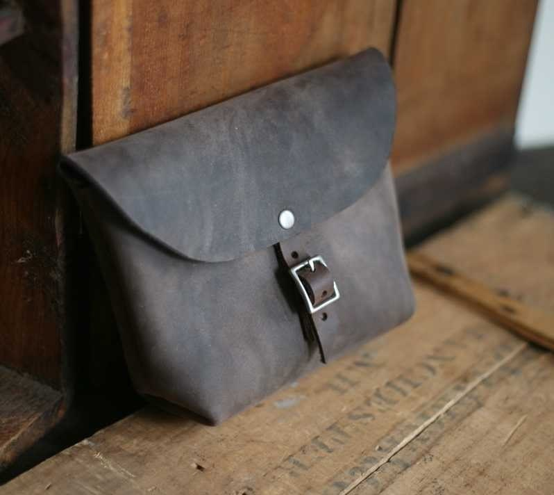 Buckled Leather Utility Pouch