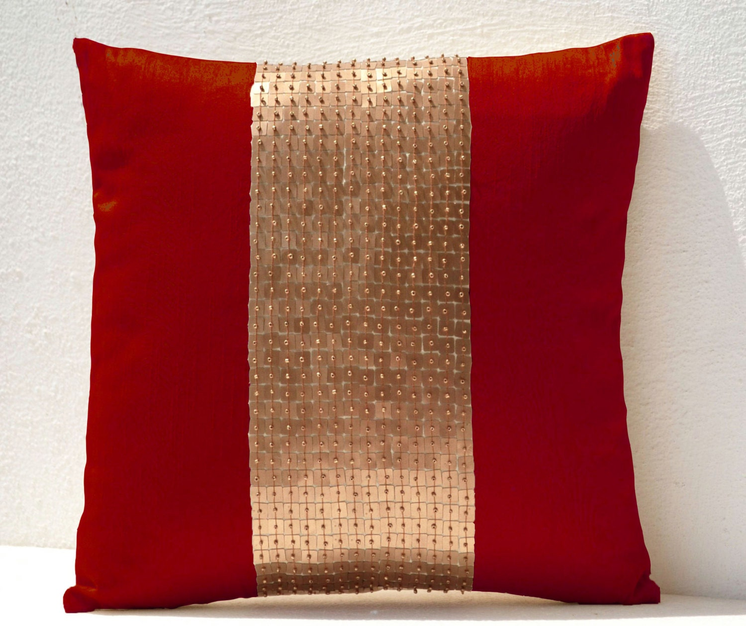 Throw Pillows Red And Gold : Throw Pillows Red gold color block in silk and by AmoreBeaute