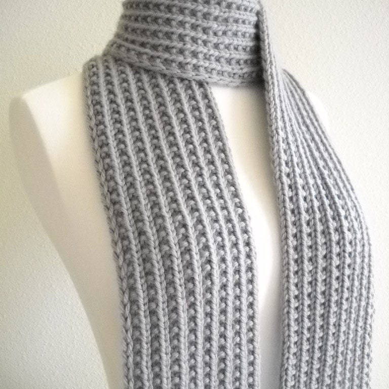 Silver Gray Hand Knit Scarf