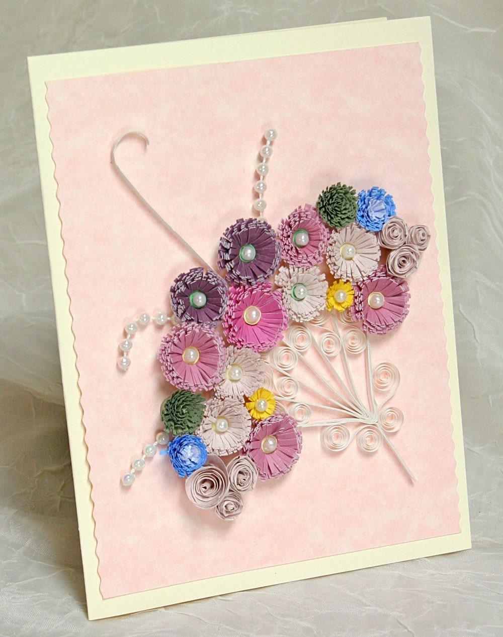 Hand Quilled Parasol Keepsake Greeting Card