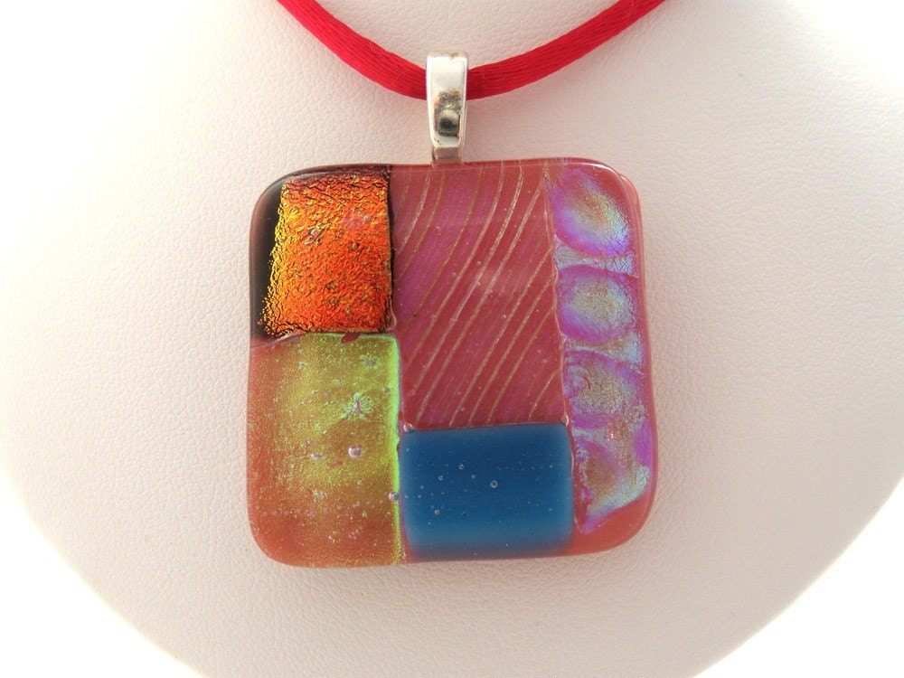 Pink Patchwork Dichroic Fused Glass Pendant