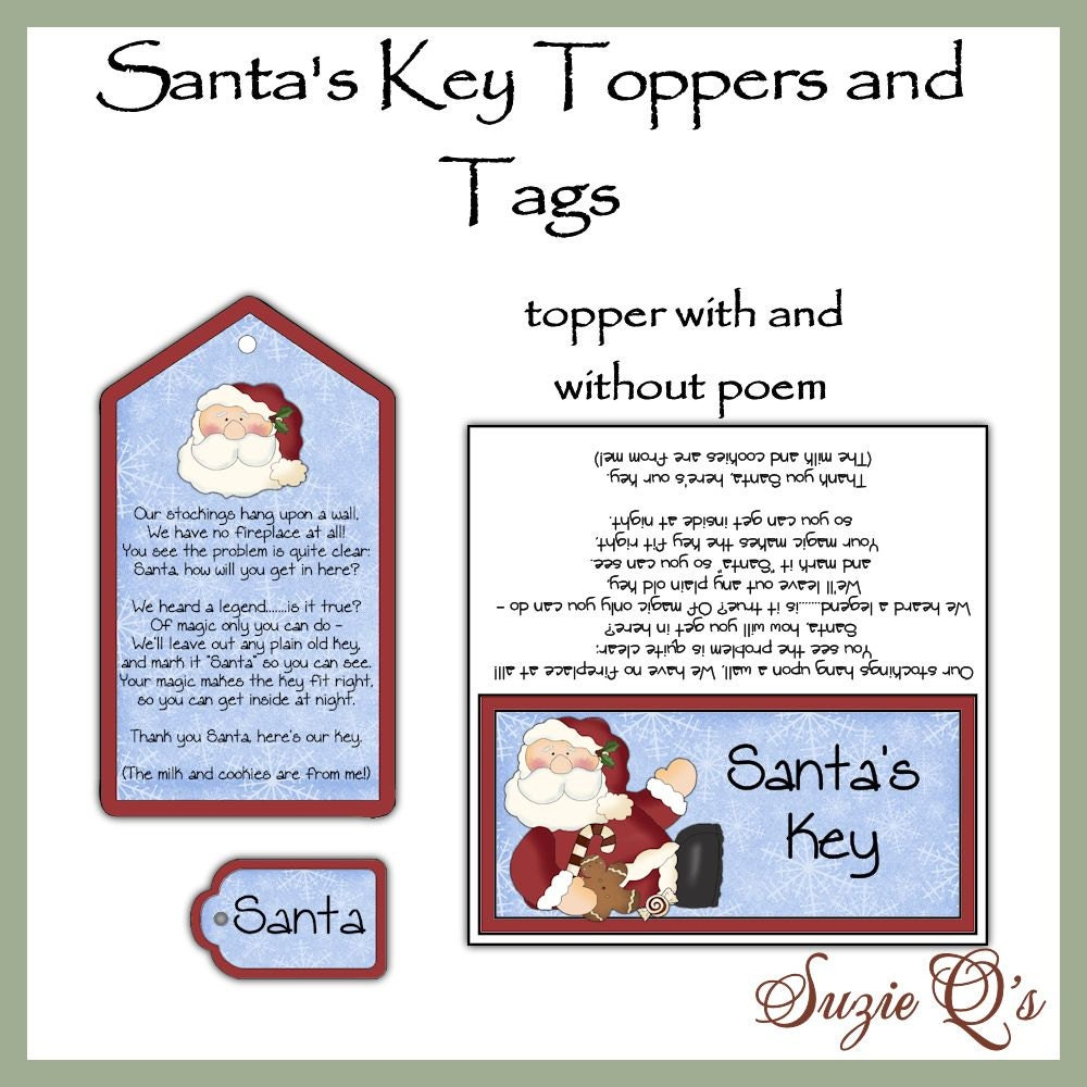 Santa's Key toppers and tags set - Digital Printable - Good Craft Show ...