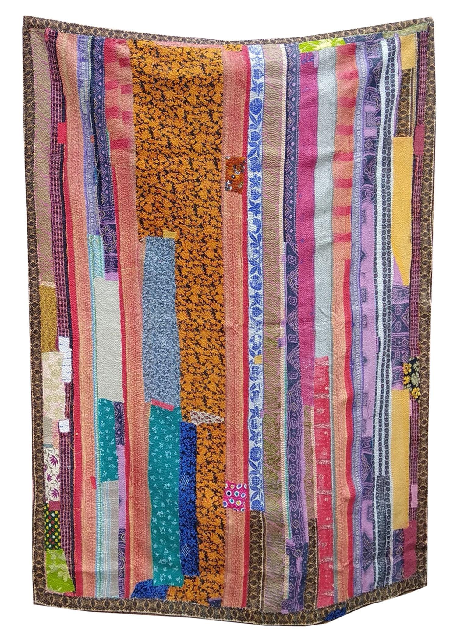 Vintage PURPLE  PINK Kantha Embroidery  Reversible Quilt Kantha Bedspread Indian Blanket Kantha Throw Coverlet Decorative Throw