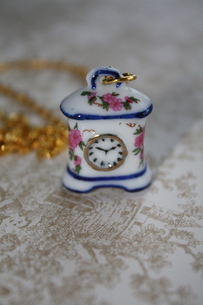 Miniature Porcelain Vintage Style Clock Necklace - Pink Flowers