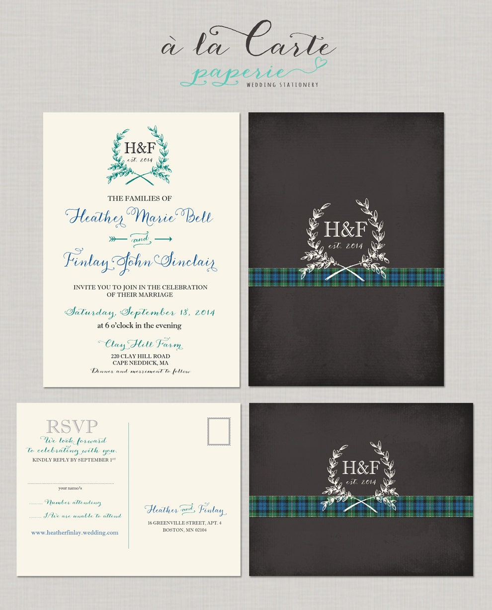 scottish wedding invitations templates - 28 images - scottish tartan ...