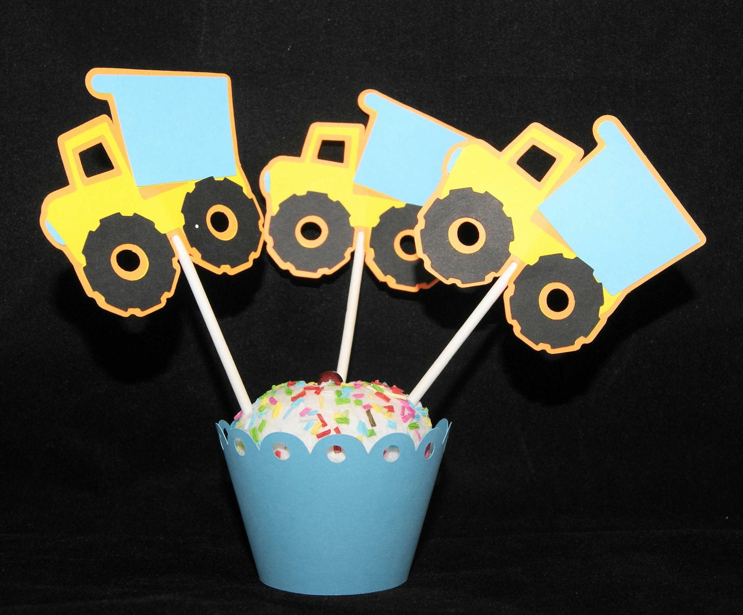 Dump Truck Cupcake Topper, Construction, Great for boy birthday party - set of 12 - Ready to Ship