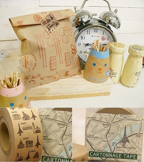 Water Activated Kraft Paper Tape - Eiffel Tower