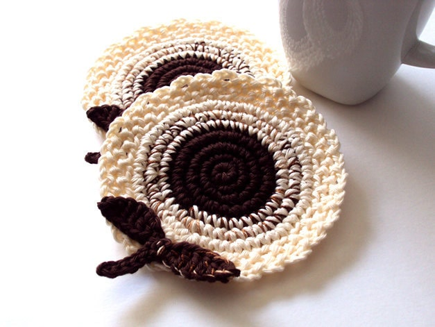 Cream Brown Flowers Coasters . Leaves Beverage Nature Drink Decor Crochet Spring Garden Collection - Set of 2