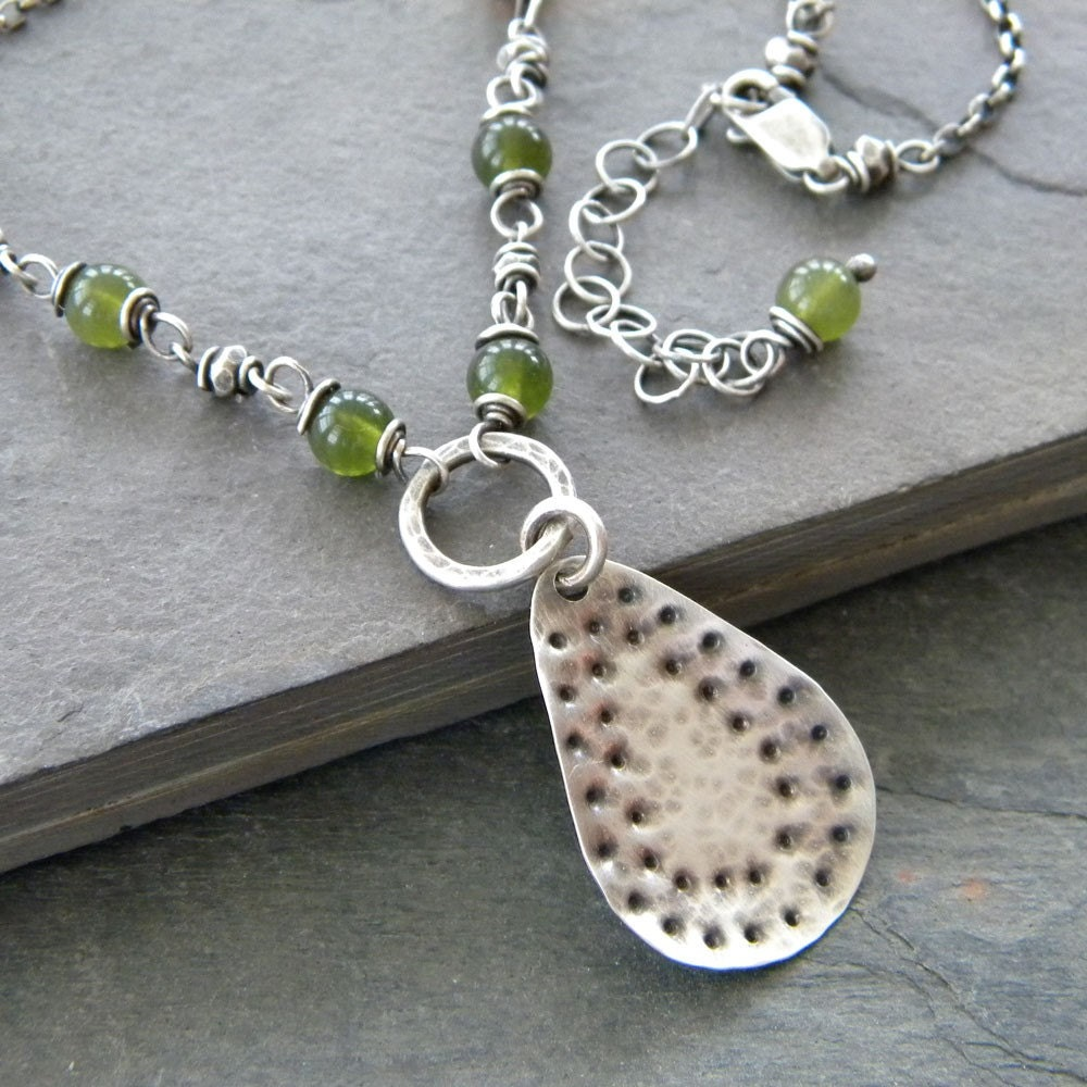 Canadian Jade, Fine Sterling Silver, Sterling Silver Teardrop, Oxidized - Necklace