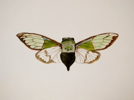 Cicada No.1 Original 11x15 Fine Art Watercolor As Seen In Italian Glamuor Style