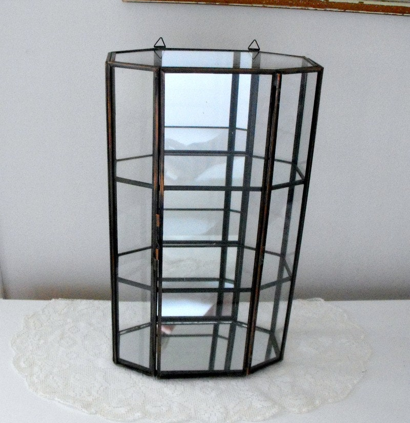 Vintage Metal And Glass Curio Display Cabinet Mirror Back Wall Mount