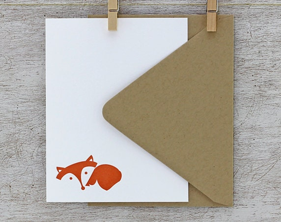 Fox Note Card Set - Fox Letterpress Stationery Set - Laying Fox, Autumn, Fall, Red, Rust Orange - 10 pack (NLF1)
