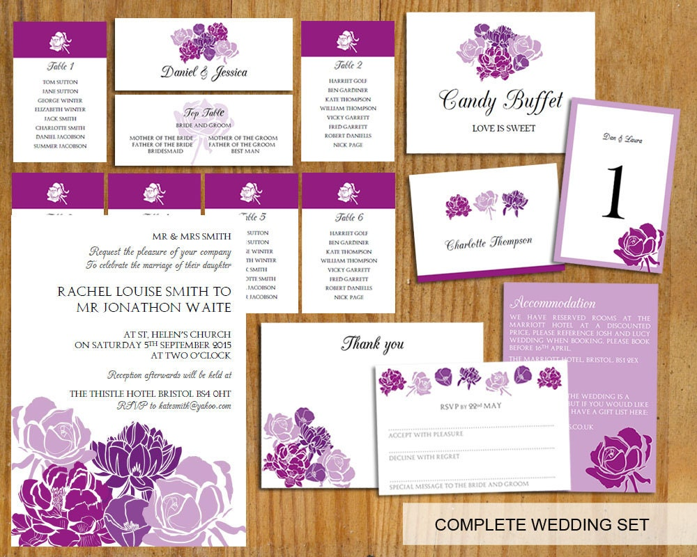 Complete Wedding template set (Purple wedding bouquet)  DOWNLOAD PRINTABLE Microsoft word DIY wedding invite wedding set invite set