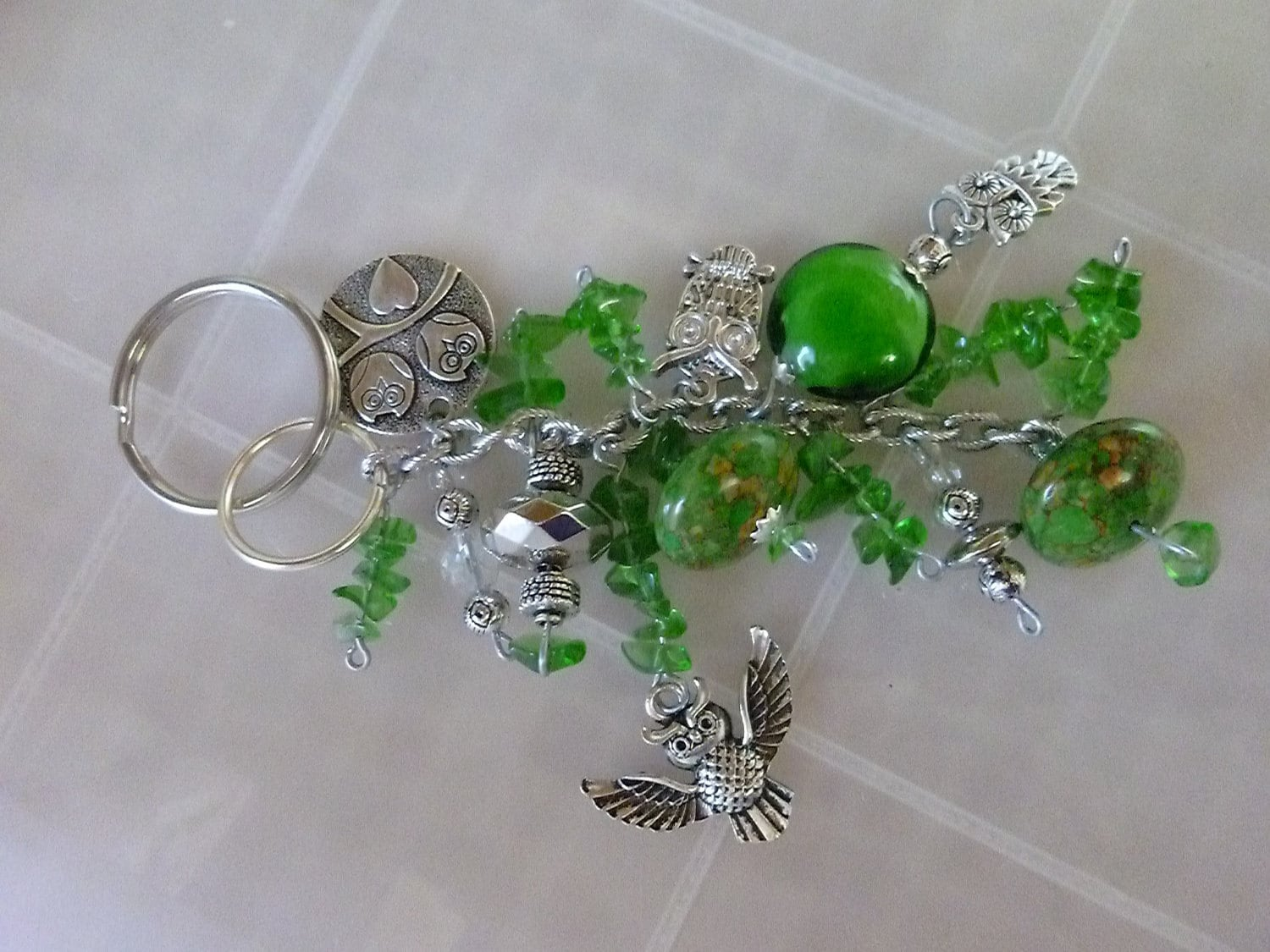 5 inch Owl Chunky Bling Keychain with Metal and Glass Beads - dangle