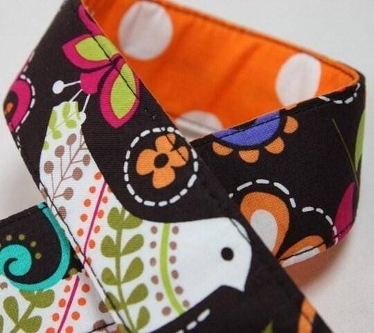 Camera Strap Cover - REVERSIBLE - Polka Birdie