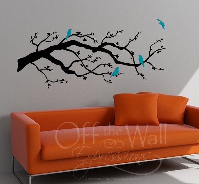 Contemporary Cherry Blossom Branch with Birds vinyl decal