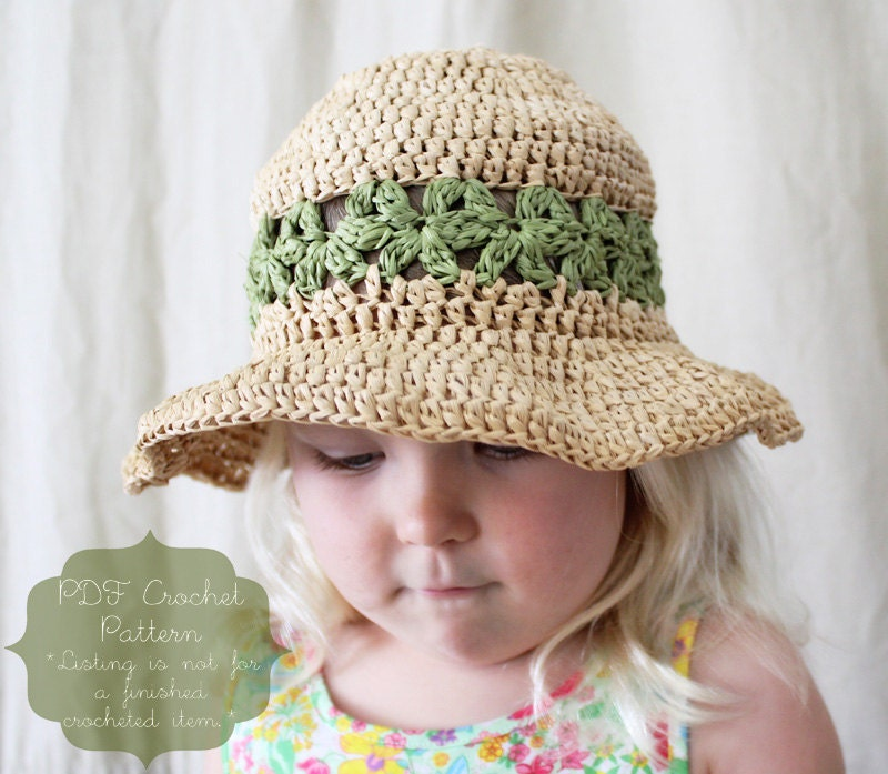 Free Crochet Pattern For Childs Owl Hat : Crochet Pattern: The Lainey Sun Hat-4 Sizes Included ...
