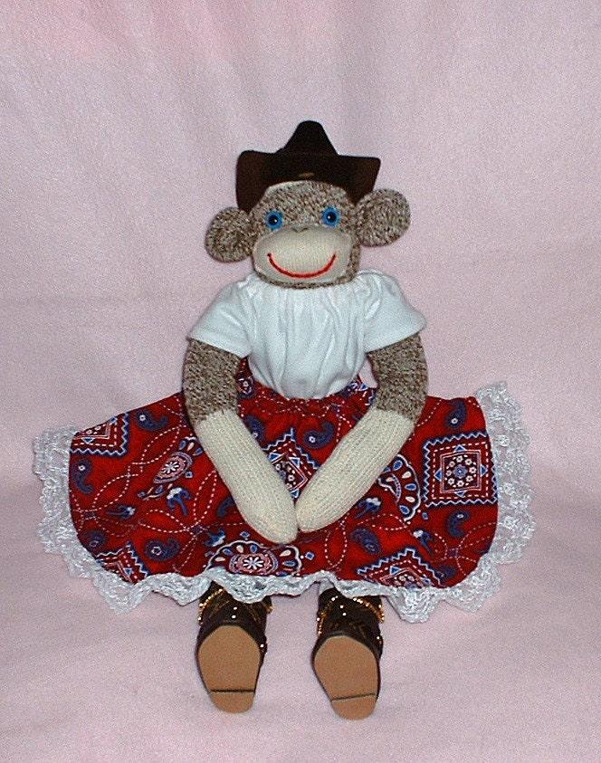 Cowgirl Sock Monkey Cowboy Boots Bandanna Print By