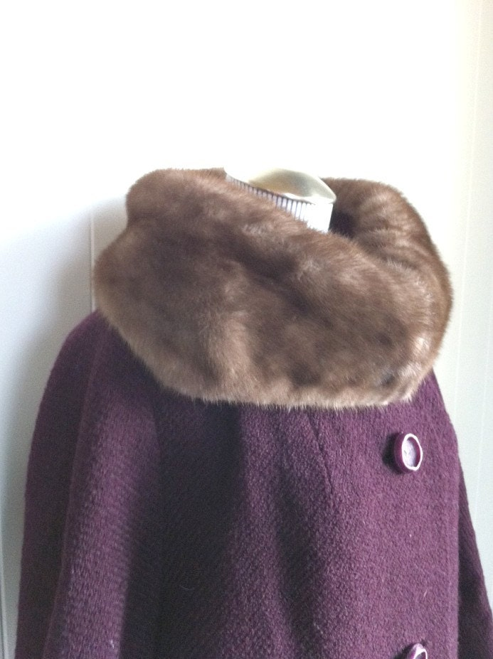 Vintage Plum Wool Long Length Coat with Fur Collar and Jacki O Style Cropped Sleeves