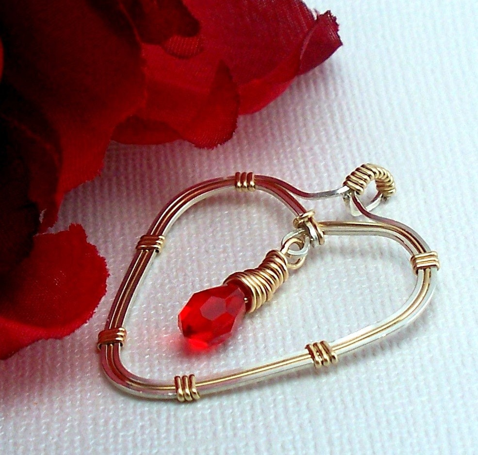 Handcrafted Ruby Red Swarovski Crystal Heart Pendant Wire Wrapped