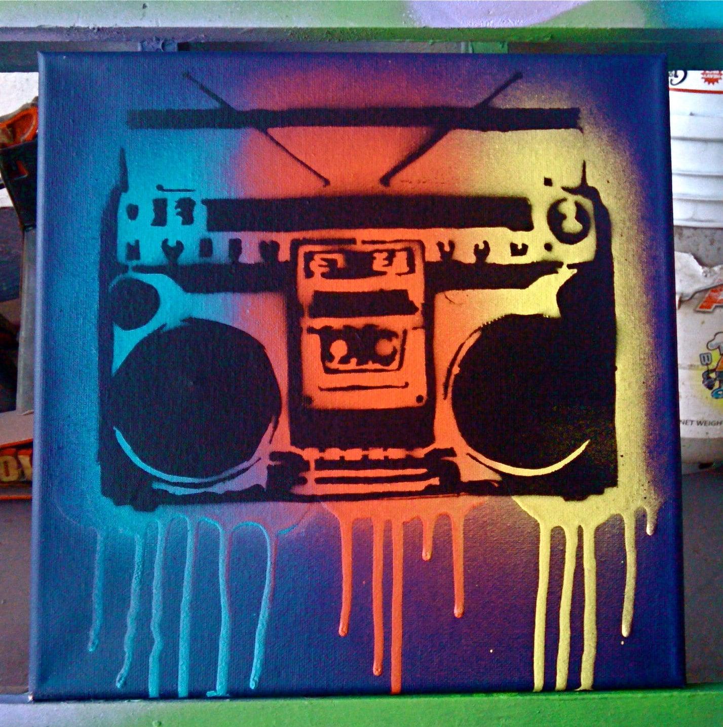 Boombox Pop Art Popular items for sten...