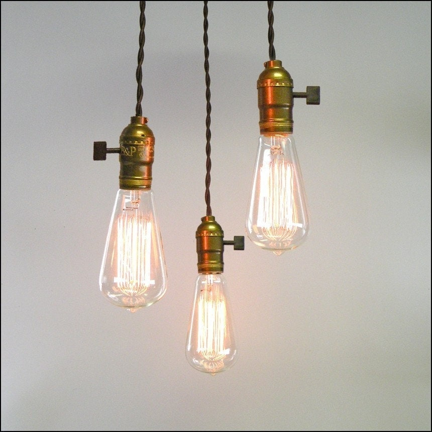 Vintage Minimalist  Three Light Bare Bulb by kamlampcompany from etsy.com