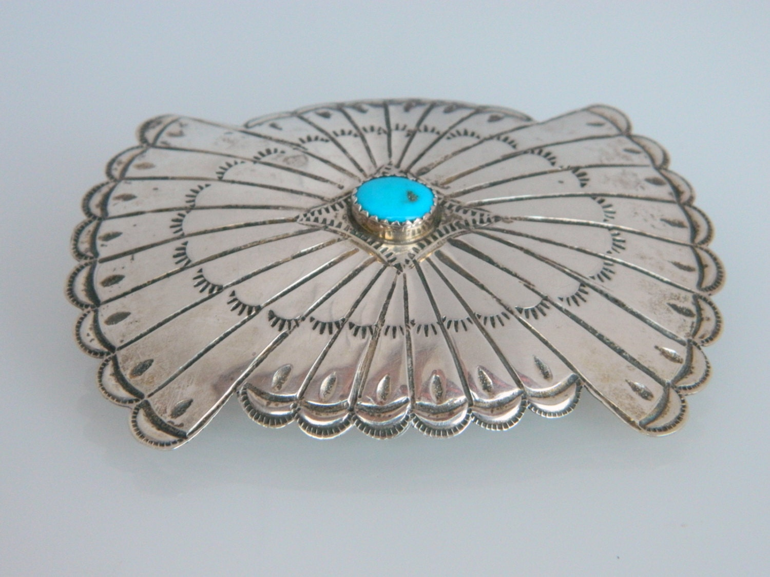 Navajo Vintage Turquoise Hand Stamped Sterling Silver Hair Piece Barrette Native American Indian - NativeJewelryStore