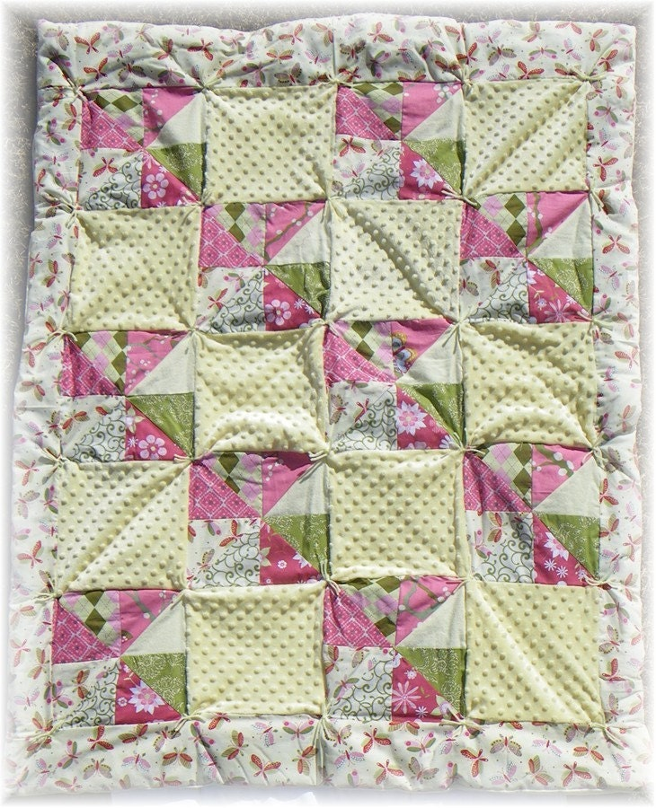 PiNk and YeLLoW and GrEeN ButTeRfLiEs Quilt - Handmade with Love