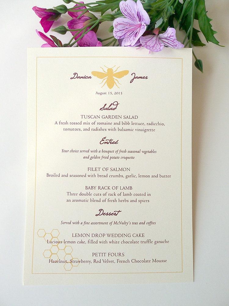 100 Honeybee Wedding Reception Menu Cards By PrettyStationeryShop