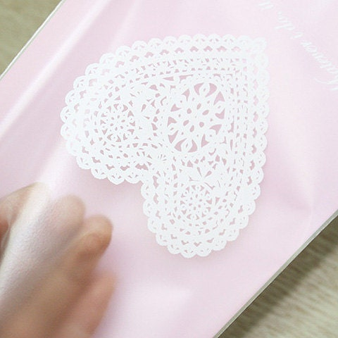 Heart Doily Printing Cello Polypropylene Bags - Pink, 130mmx190mm