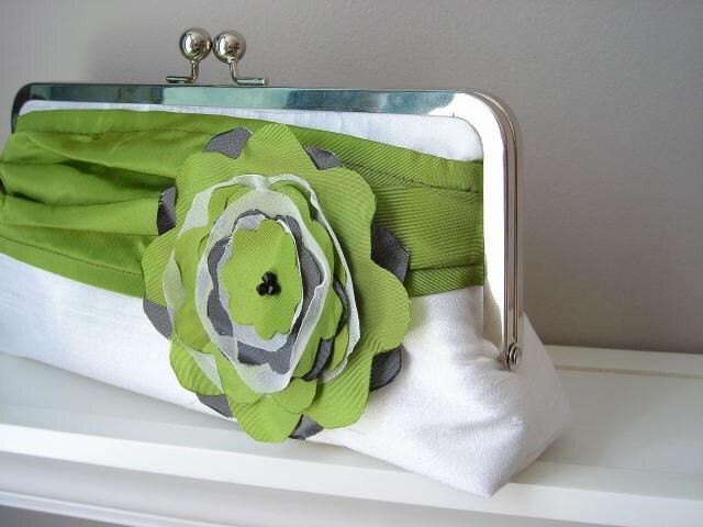 Modern Bride - Dupioni Silk Bridal Clutch in White Green and Black