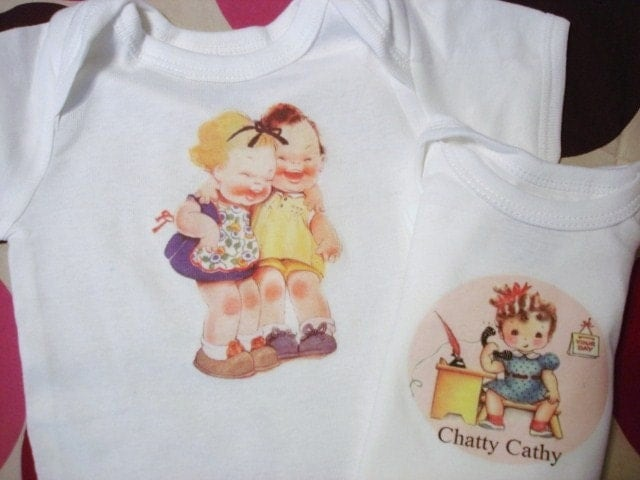 2 RETRO BABY GIRL ONESIES....any size one low price