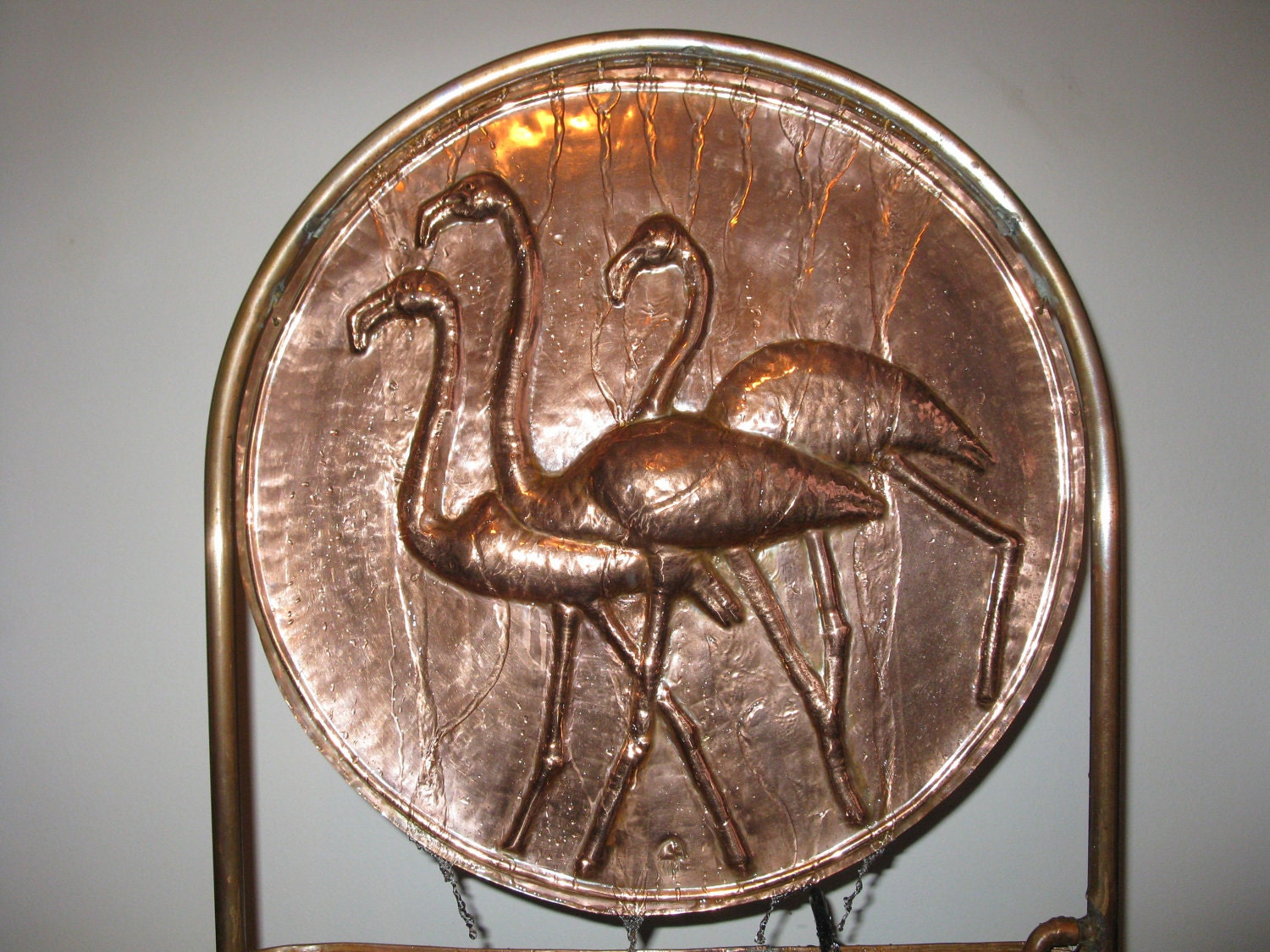 Copper fountain-repousse flamingo fountain