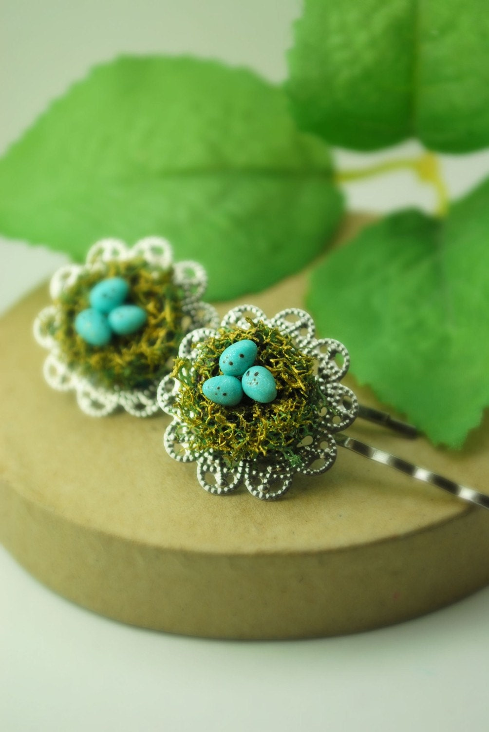 The Golden Robin's Nest Bobby Pin Woodland PolymEr Clay Jewelry